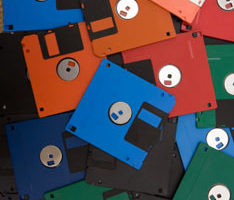 old book drafts on floppy disks