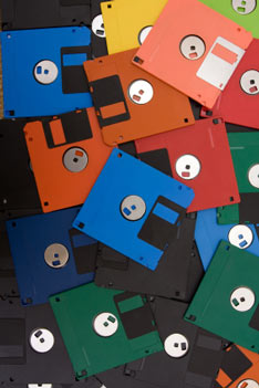 old book drafts on floppy disks